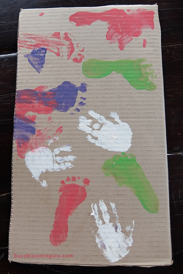 hand and foot printed cardboard for diy gift box