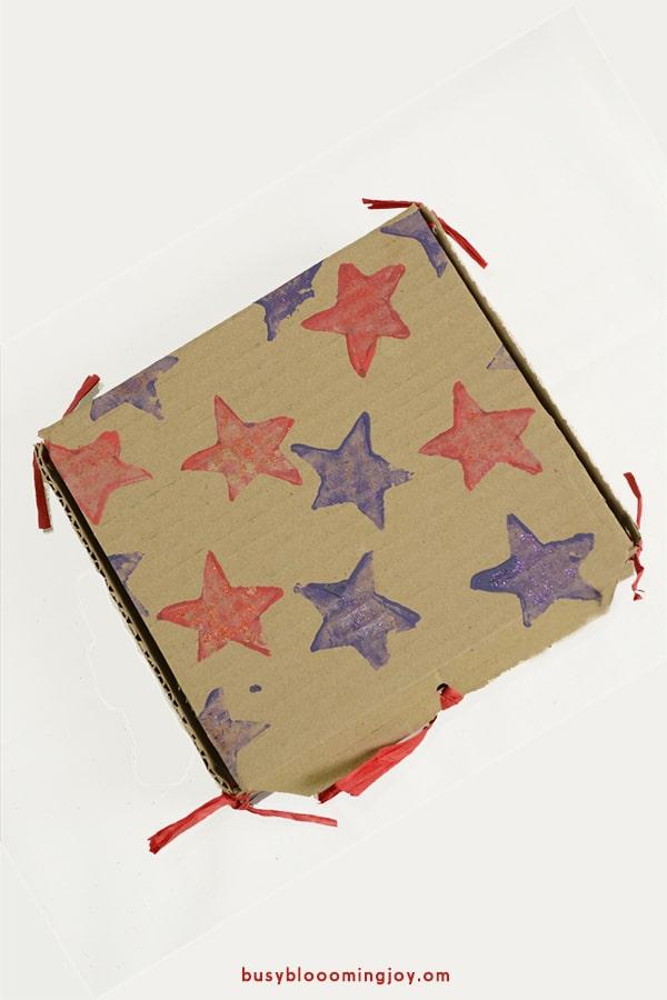 finished potato stamp gift box