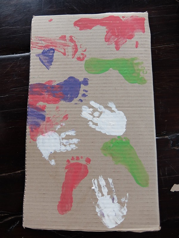 foot and hand printed gift box decorating