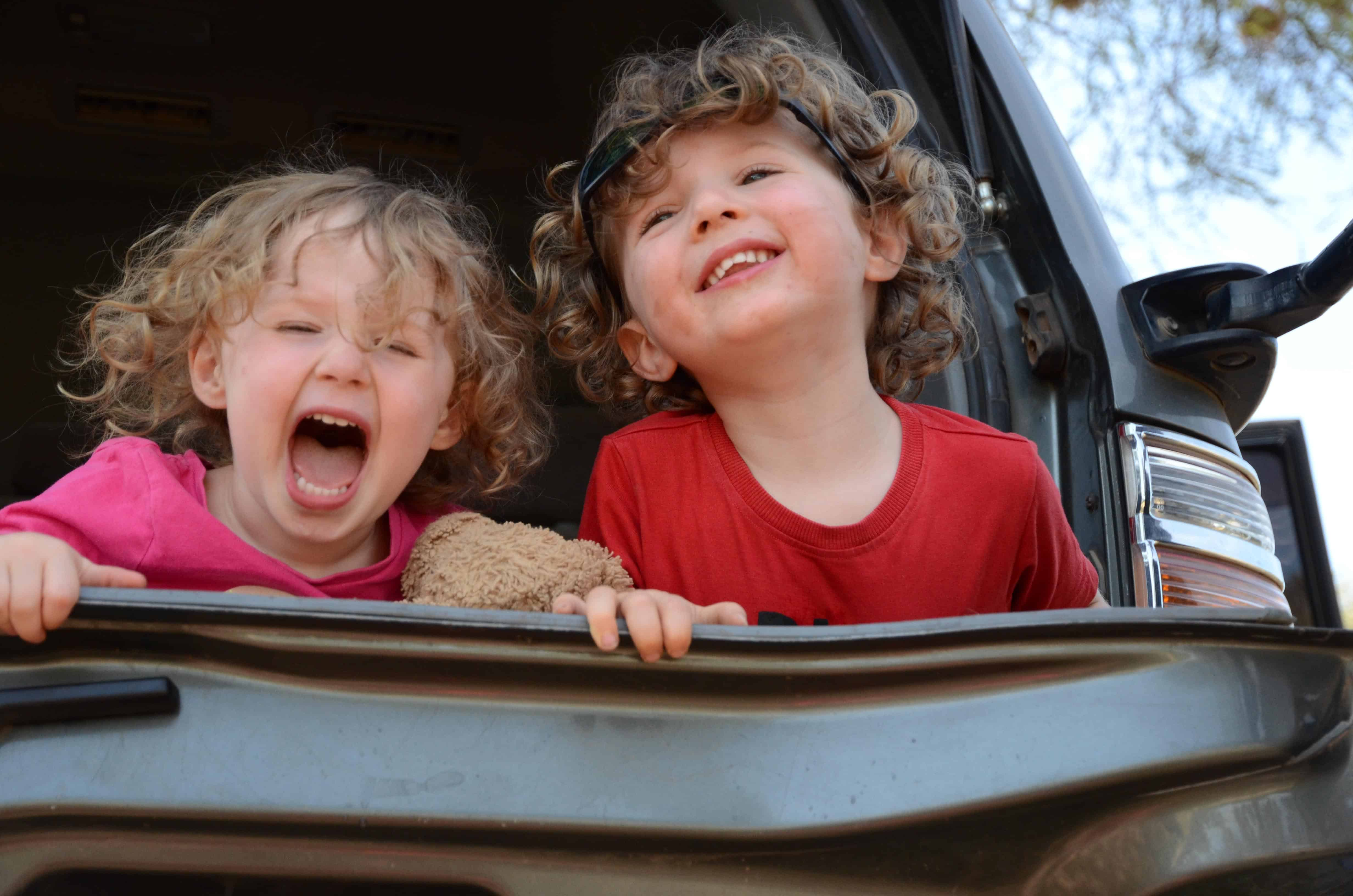 Two toddlers laughing in back of car with bushy hair