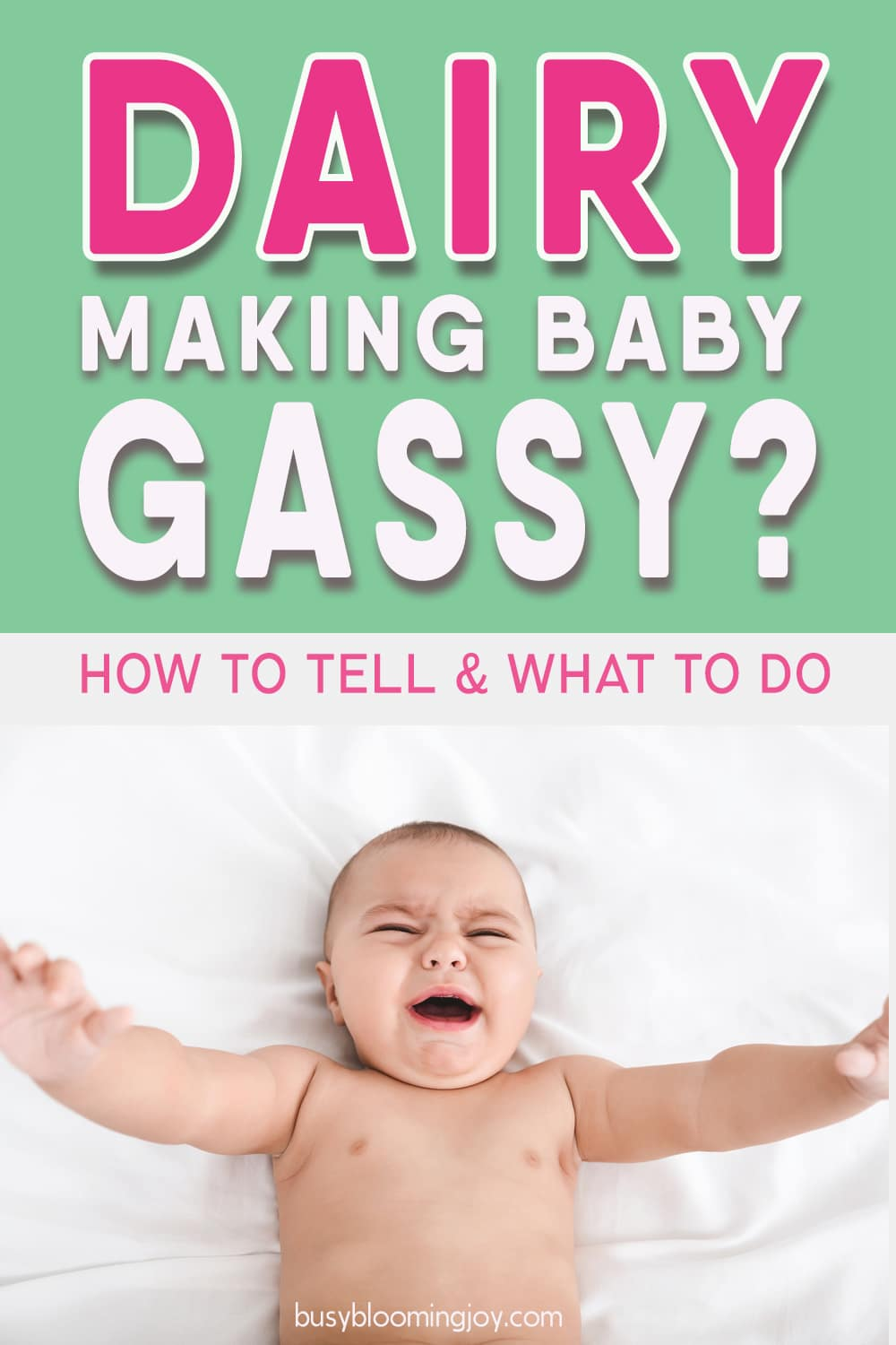 Is your baby gassy or have colic? Breastfeeding – the cause could be dairy (cow's milk allergy or lactose intolerance) or another food making your baby gassy & cry a lot (colic). Dairy/cow's milk can also contribute to acid reflux. Feeding baby cow's milk formula & baby fussy, has gas pains, colic or acid reflux? It could be cow's milk allergy or lactose intolerance. All about dairy intolerance/cow's milk protein allergy & other food allergies here. Signs, symptoms, remedies, treatments.