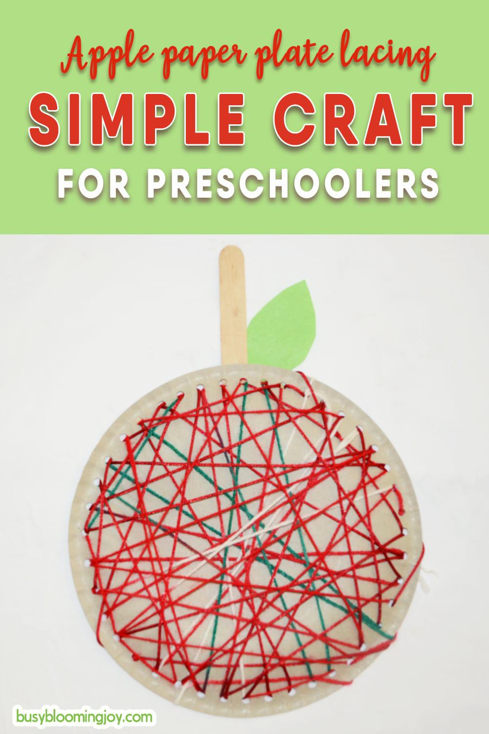 Paper plate apple craft – simple fine motor activity for toddlers (2 min prep!)
