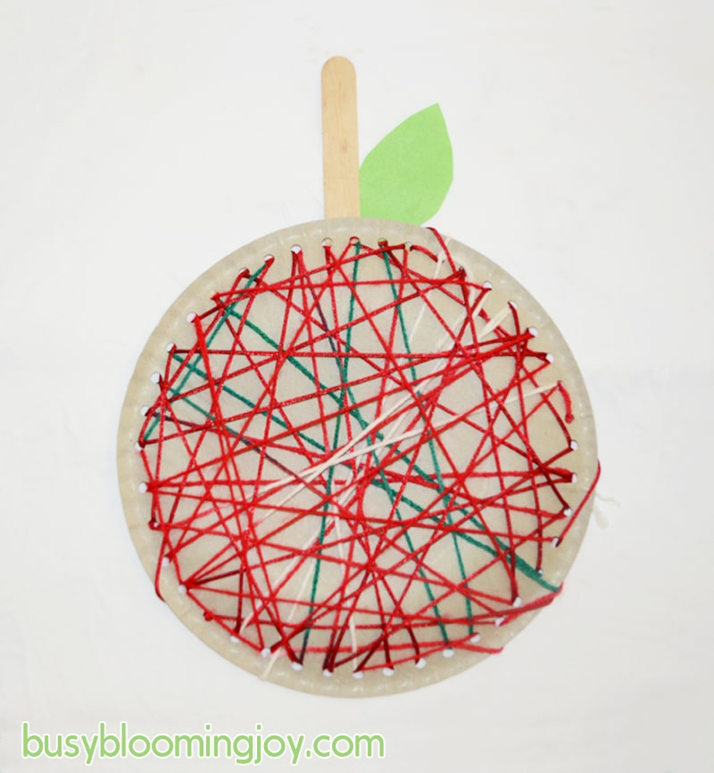 Fall apple lacing craft for toddlers