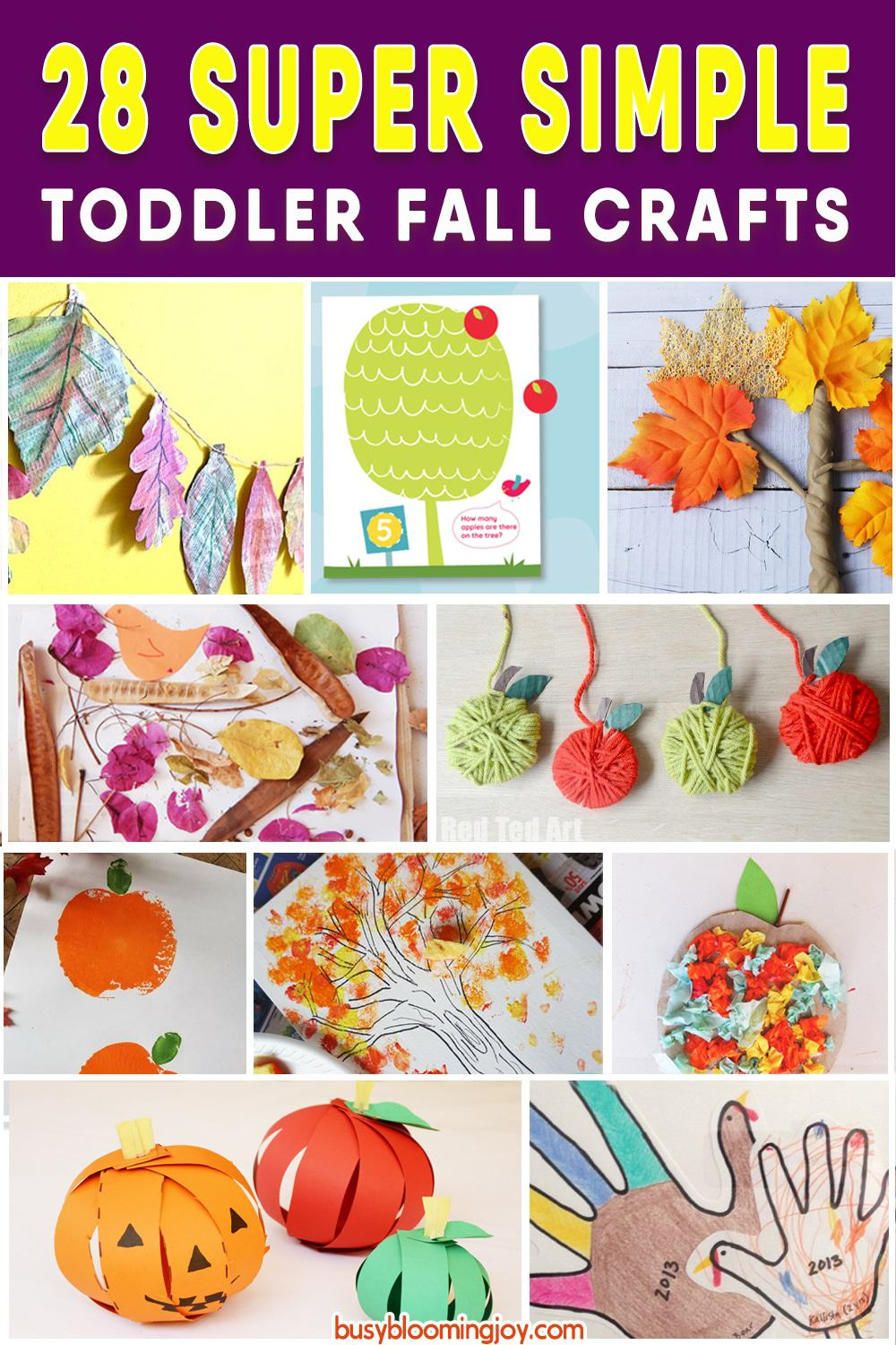 Fall crafts for toddlers this Autumn! Apple crafts, leaf crafts, paper plate crafts, tree crafts, pumpkin crafts - everything fall and Autumn for toddlers or preschoolers