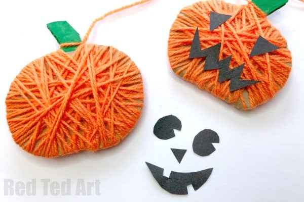 halloween-preschool-yarn-Fall-craft