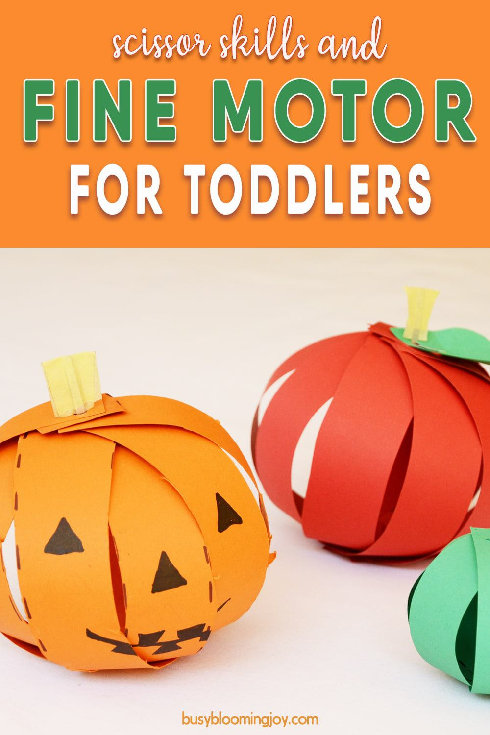 Super simple cutting activity for toddlers: 3D apple or pumpkin craft