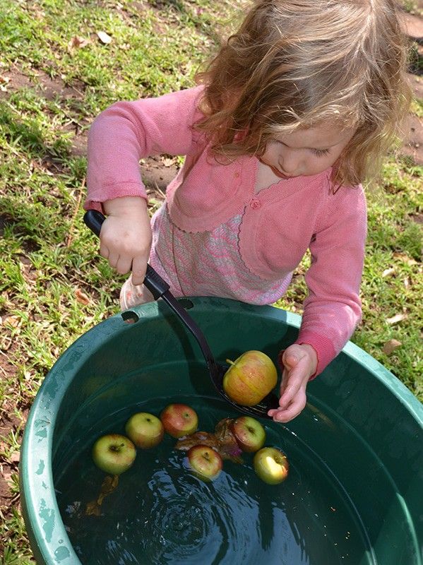 toddler Fall activity - apple bobbing