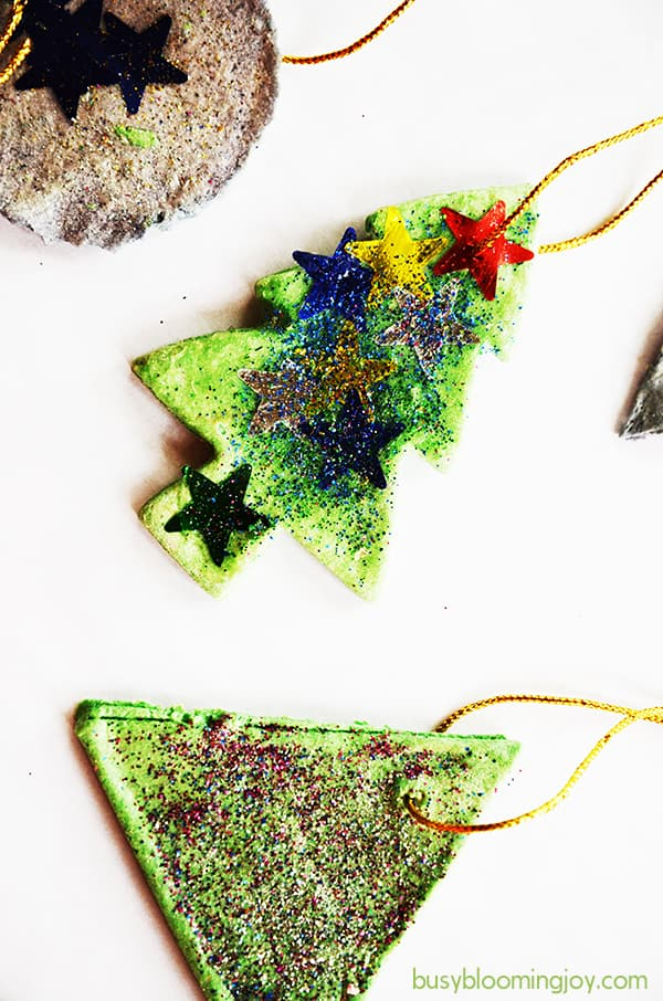 Finished decorated salt dough Christmas tree ornaments