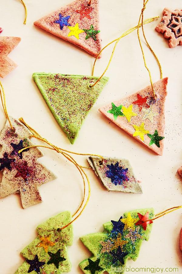 collection of salt dough christmas tree ornaments