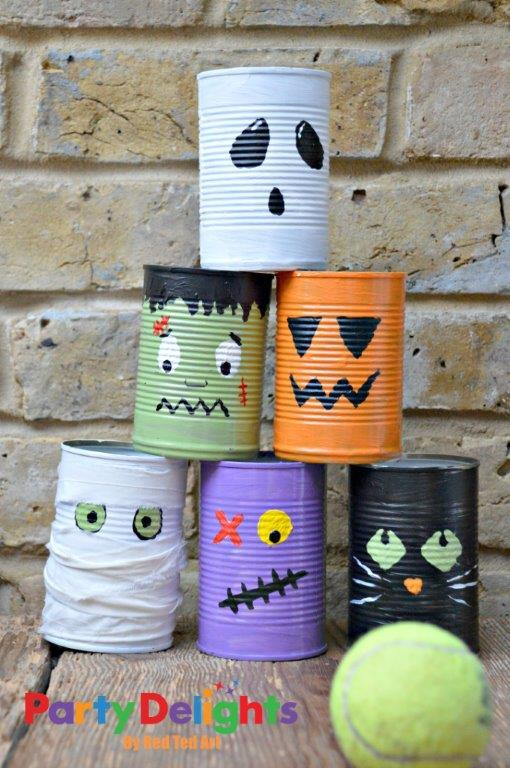 Halloween tin can bowling game for kids
