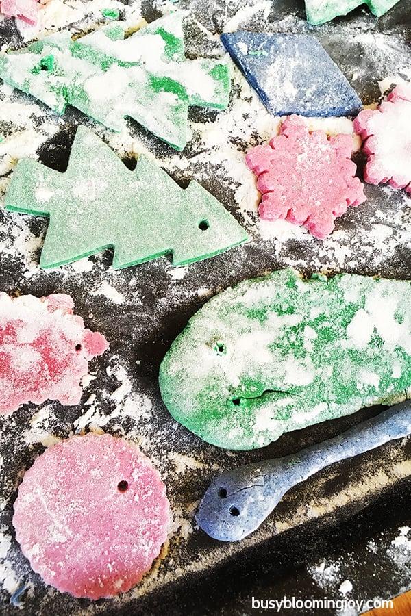 drying salt dough tree ornaments