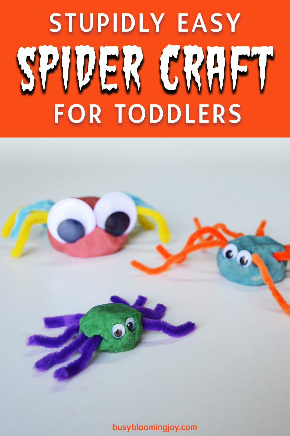 STUPIDLY EASY pipe cleaner spider craft for toddlers (no prep & no mess!)