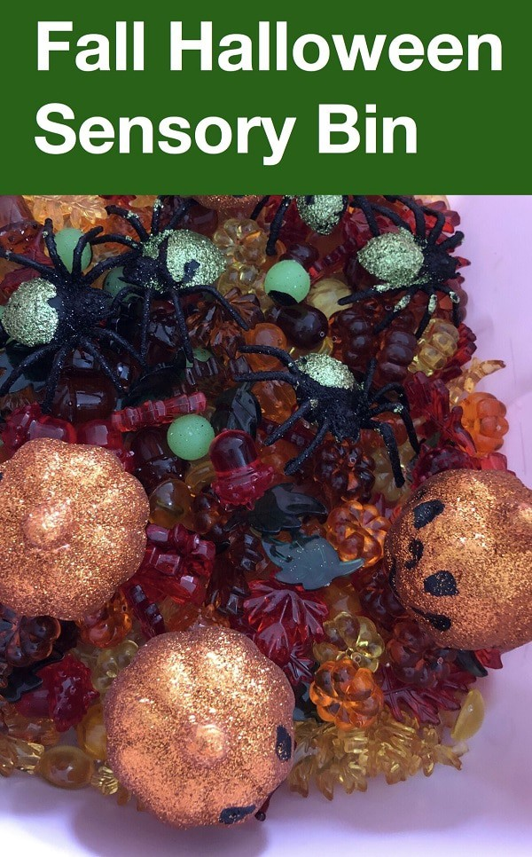 Halloween sensory bin for toddlers