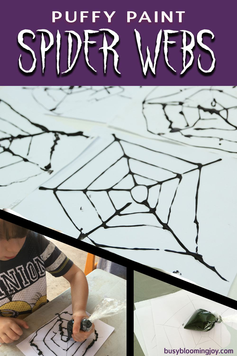 Puffy paint spider web craft – fine motor control for kids