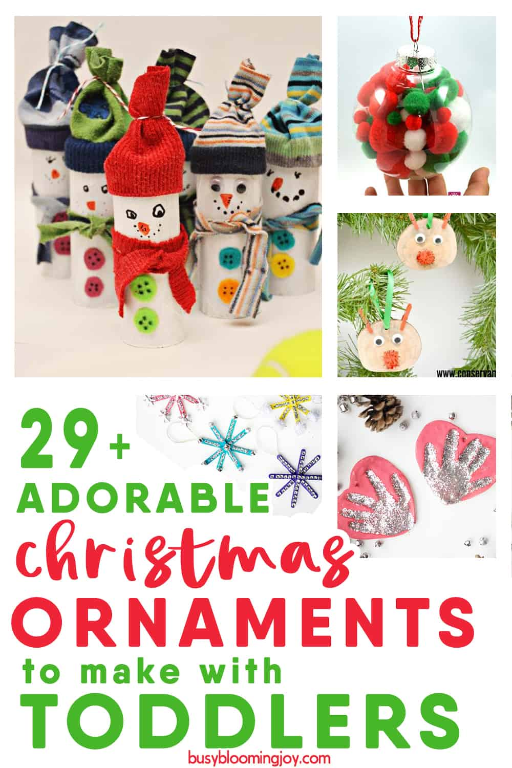 Homemade Christmas ornaments to make with kids, especially toddlers!