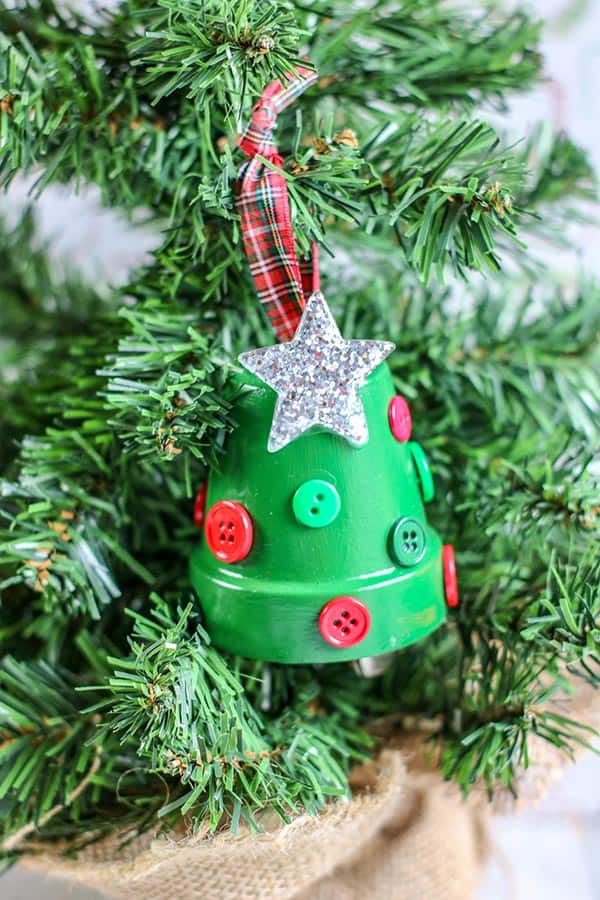 Christmas tree clay pot ornament to make with kids