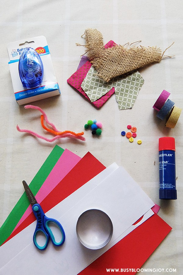 Supplies needed for diy snowman christmas card to make with toddlers