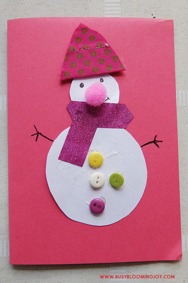 Finished pink homemade snowman card