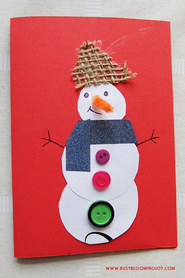 Finished red homemade snowman card