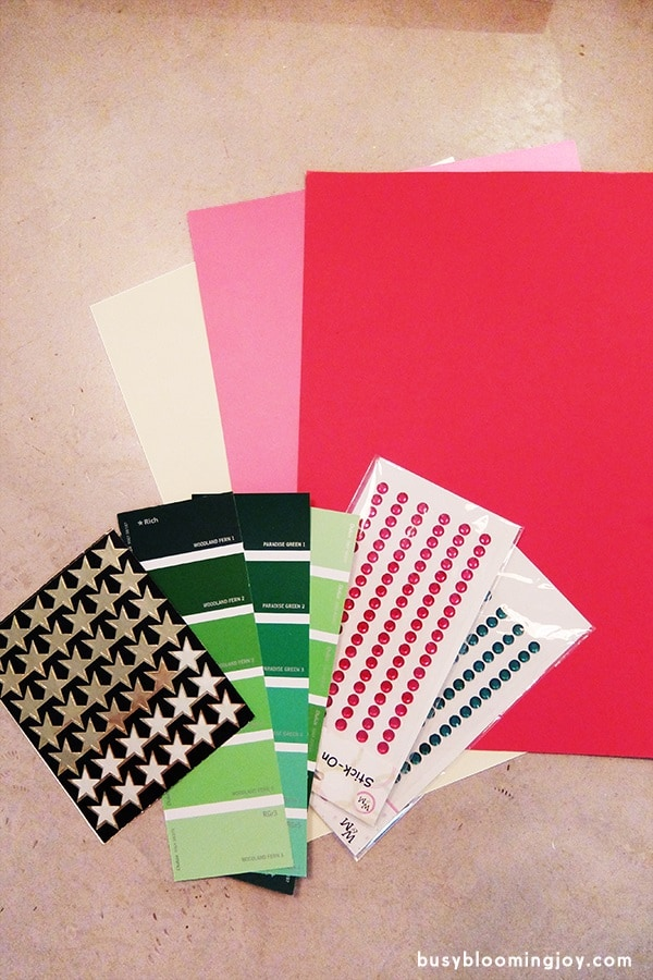supplies for paint chip christmas card