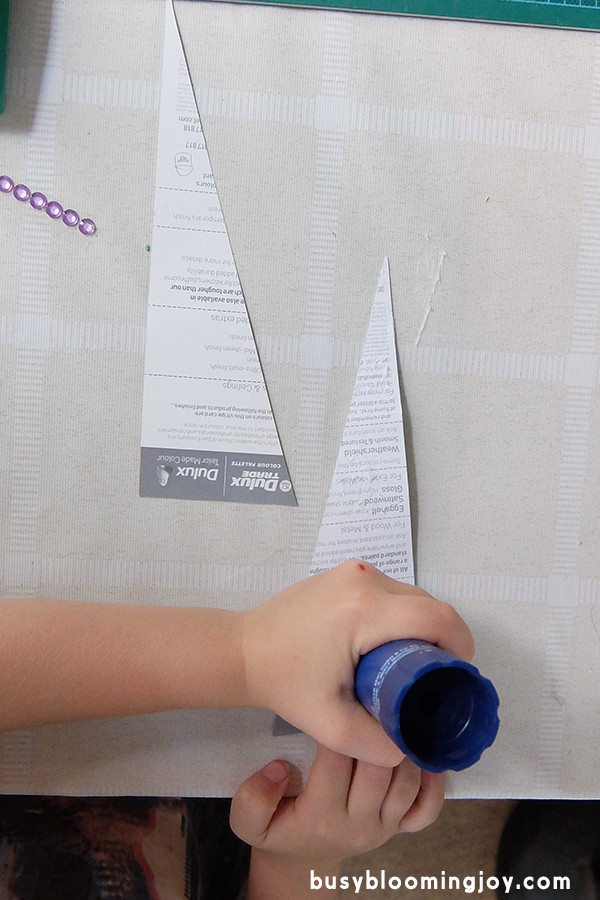 gluing paint chip for Christmas tree card
