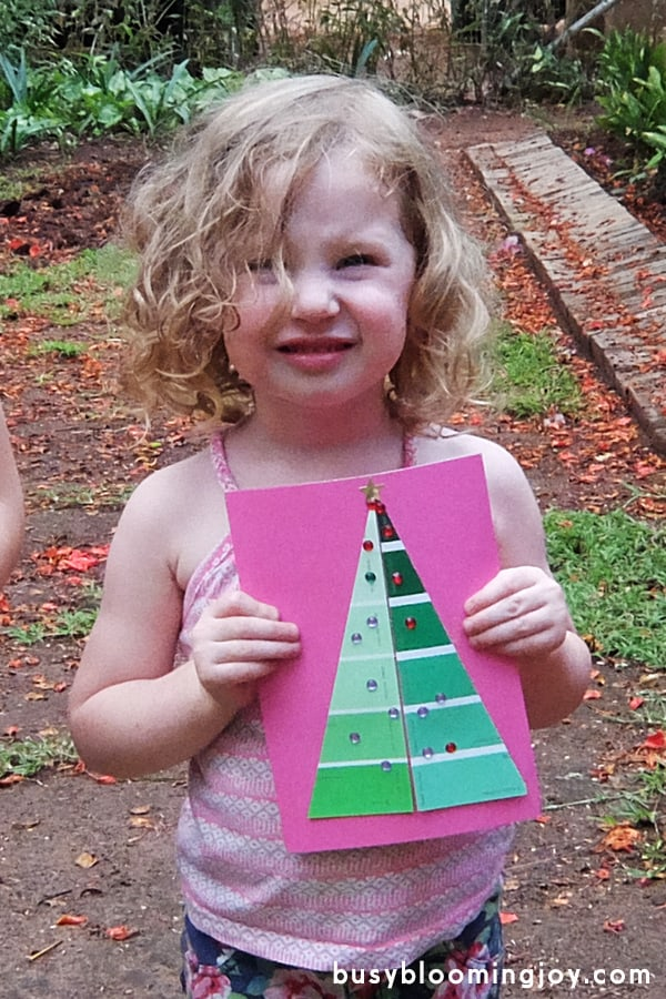 toddler holding paint chip Christmas card