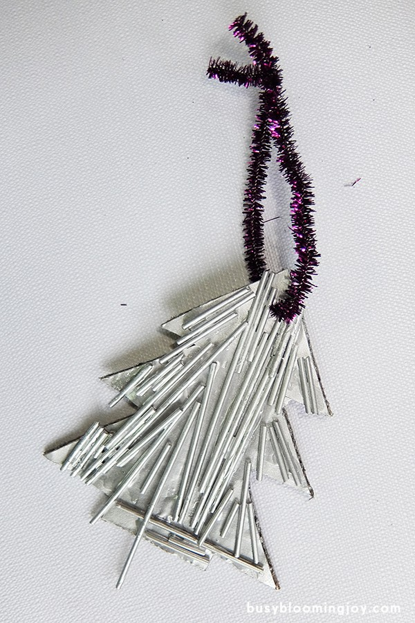 purple on white finished spaghetti Christmas tree ornament
