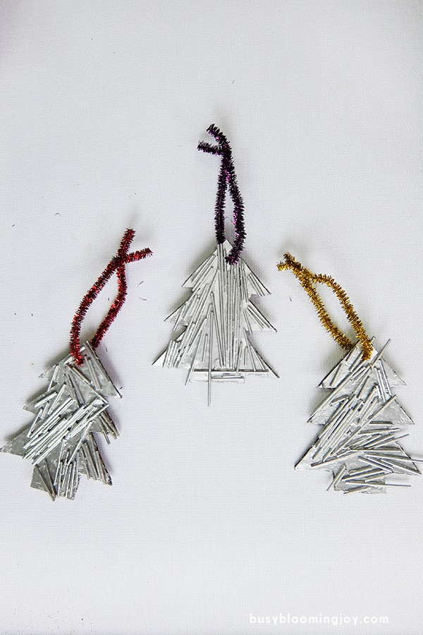 all three on white finished spaghetti Christmas tree ornament
