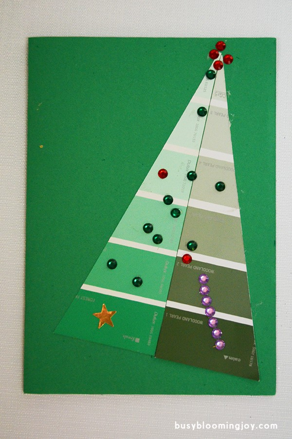 Finished green paintchip christmas card