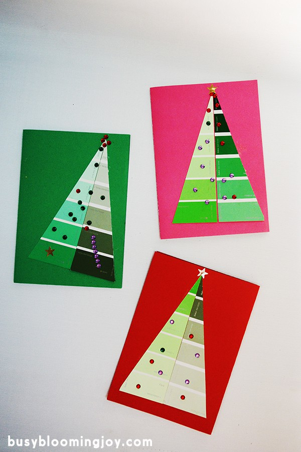 Finished paintchip christmas cards toddler craft