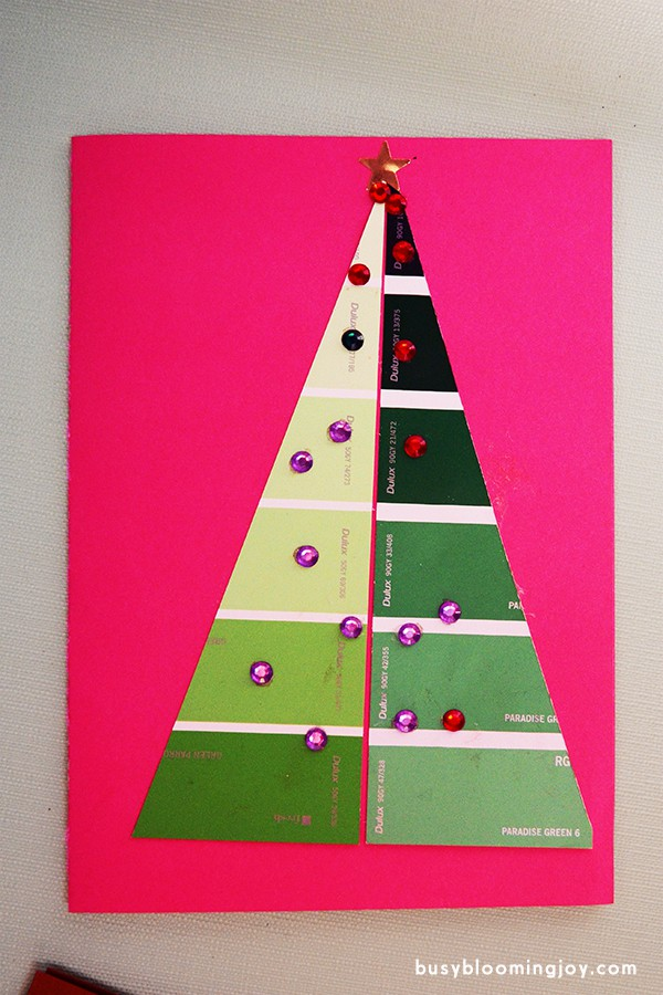 Finished pink paintchip christmas card