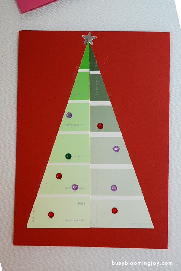 Finished red paintchip christmas card