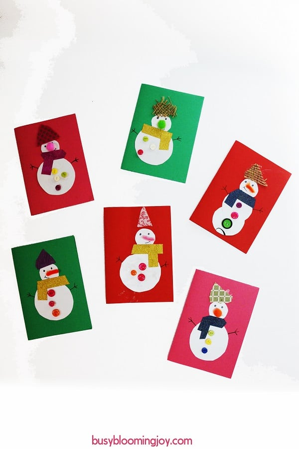 Finished snowman cards x6