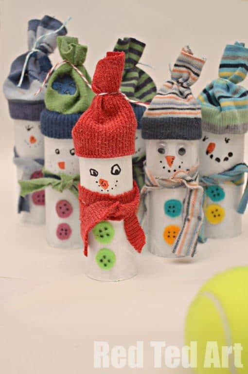 toiler roll snowman DIY christmas ornaments