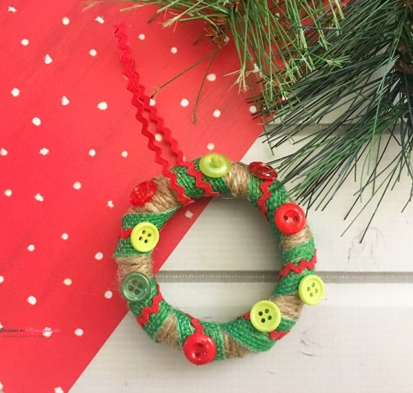 Homemade Christmas ornament button wreath