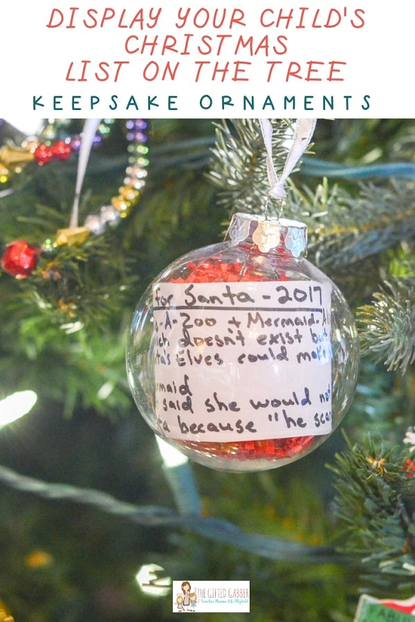 Homemade Christmas list baubel