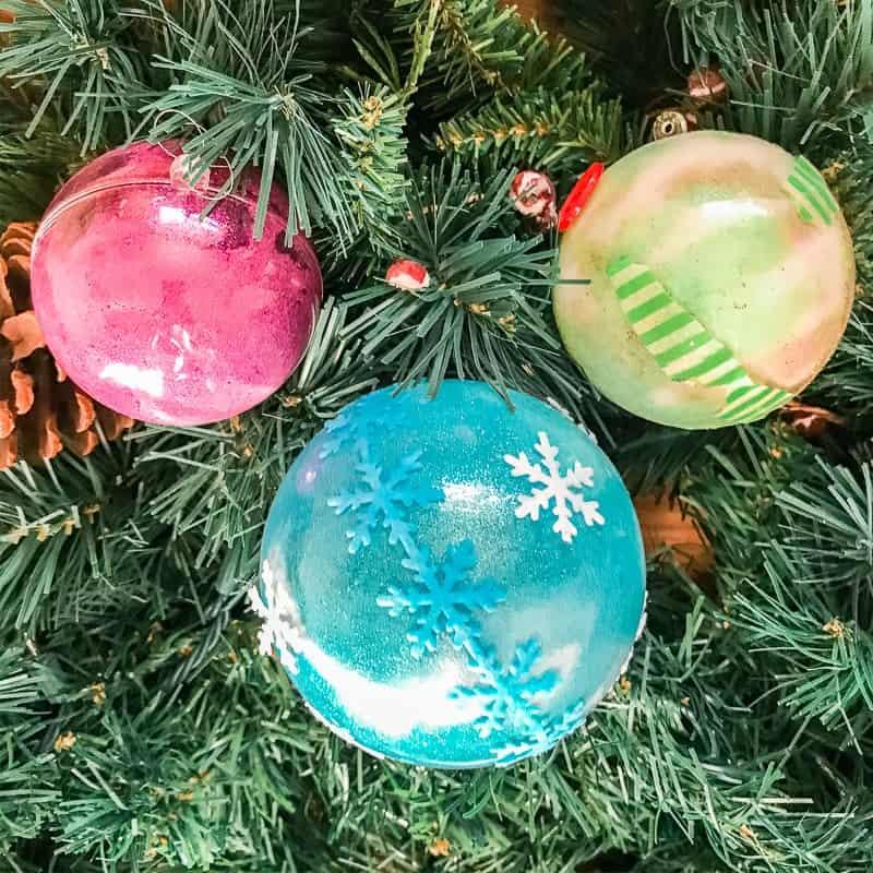glitter Christmas ornaments for kids to make