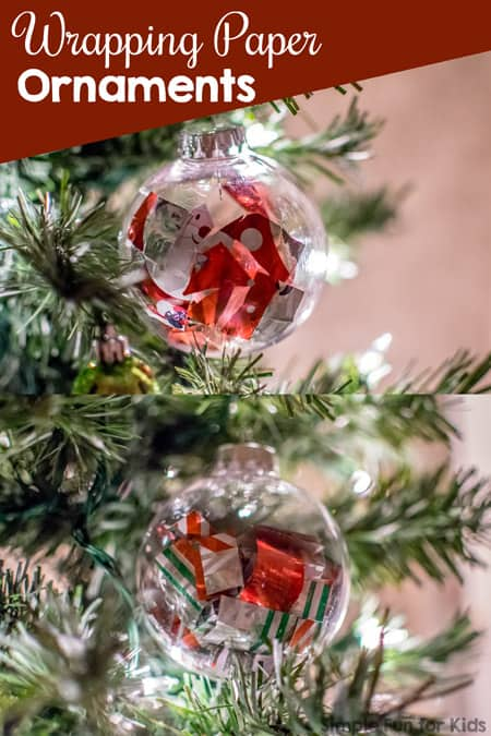 Christmas baubel ornaments with wrap paperpaper