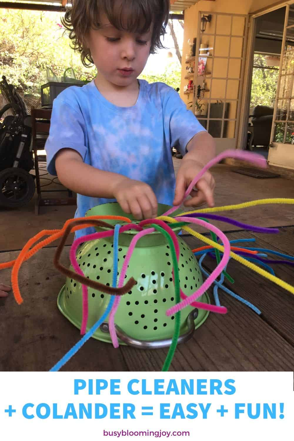 No prep easy toddler activity at home - pipe cleaners + colander