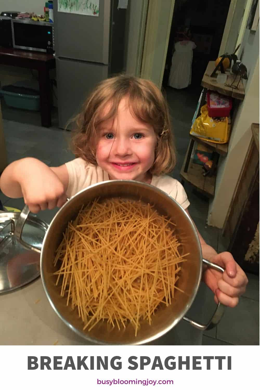 breaking spaghetti - easy toddler activity to try at home