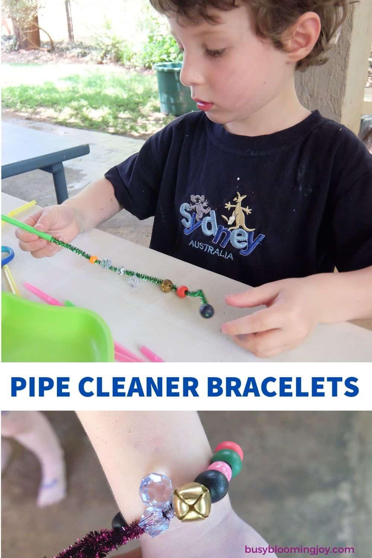 pipe cleaner bracelet toddler activity no prep fine motor