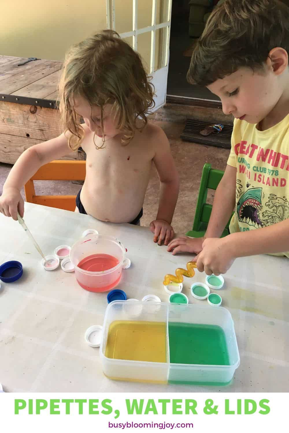 Bottle tops and pipettes for easy at home toddler or preschooler activity