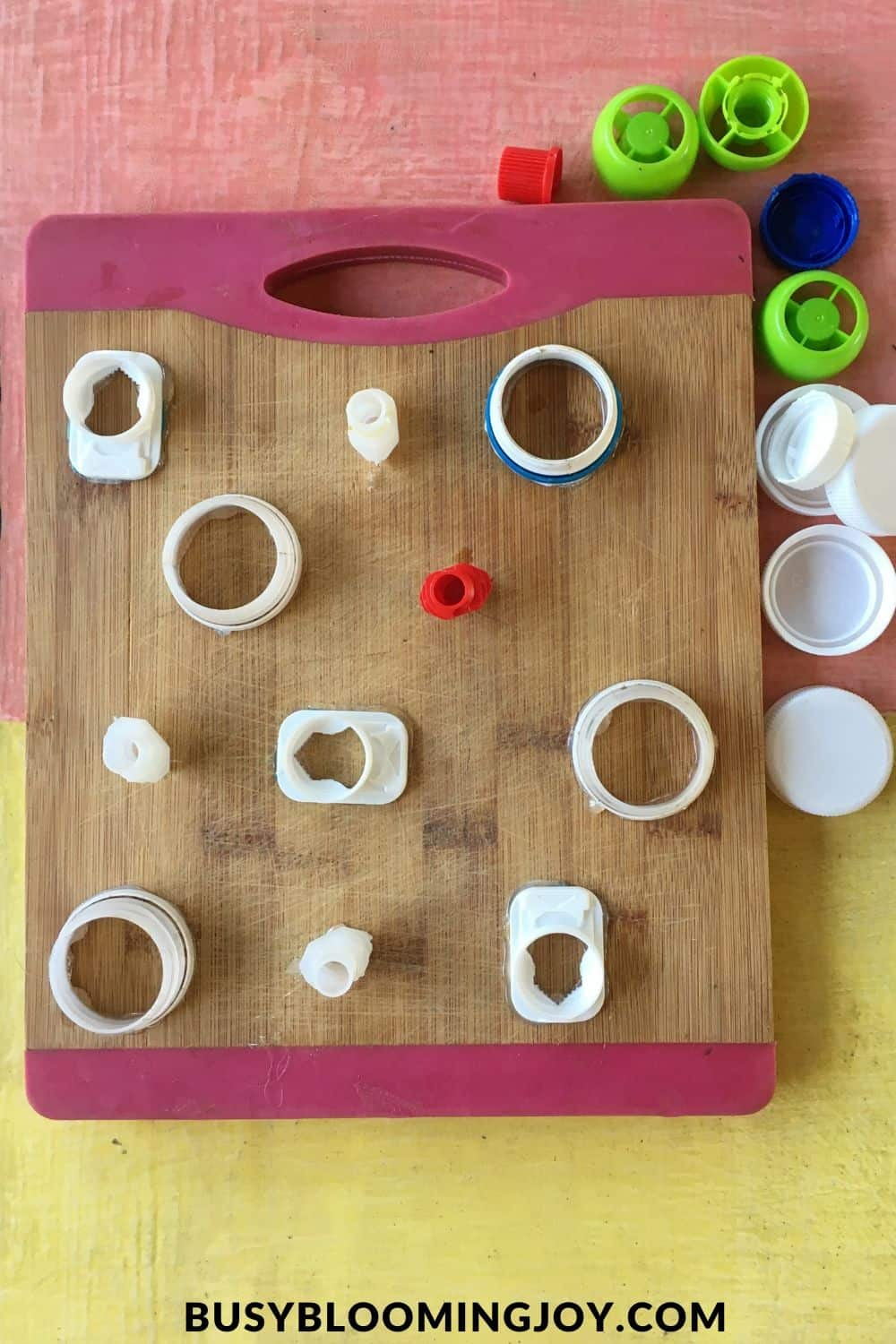 Glued and finished DIY fine motor toddler toy for