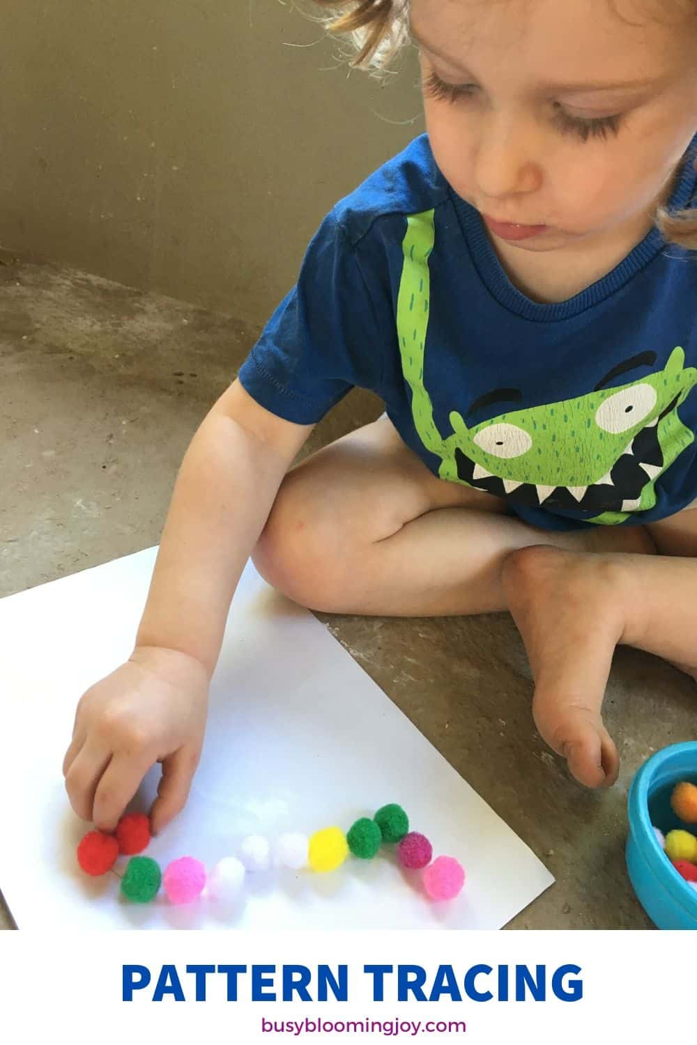 pompom patterns for an easy toddler activity at home