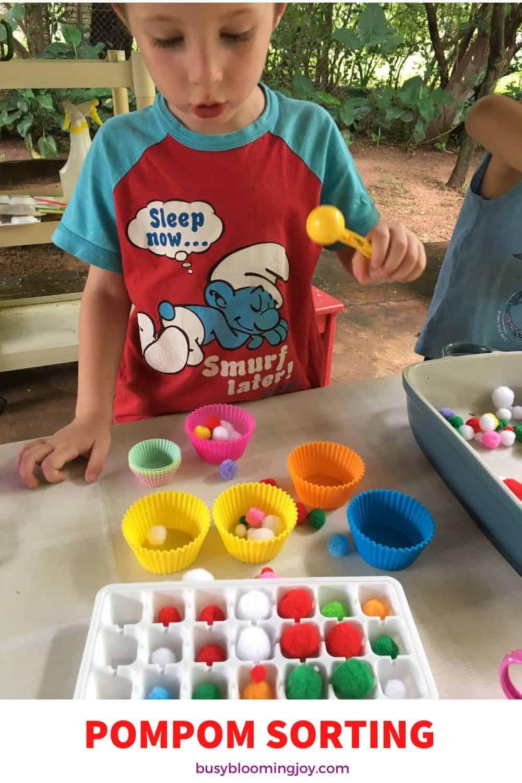 sorting pompoms easy toddler activity fine motor practice