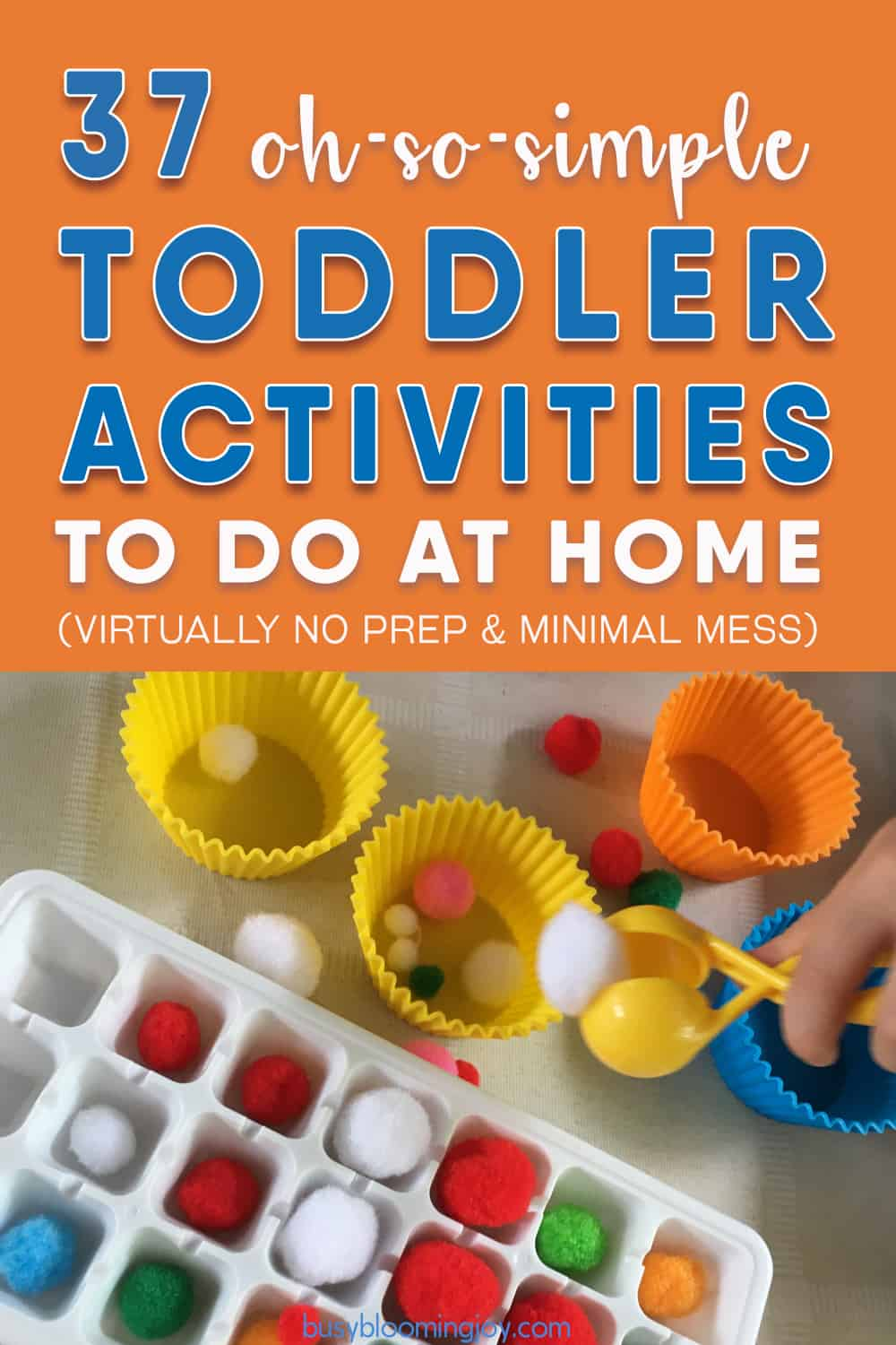 no prep easy toddler activities to do at home - pin image