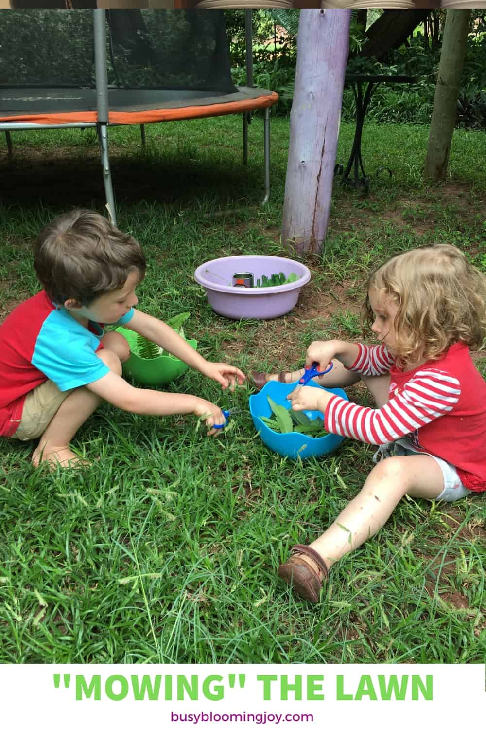 cutting the lawn - fun outdoor activity for preschoolers