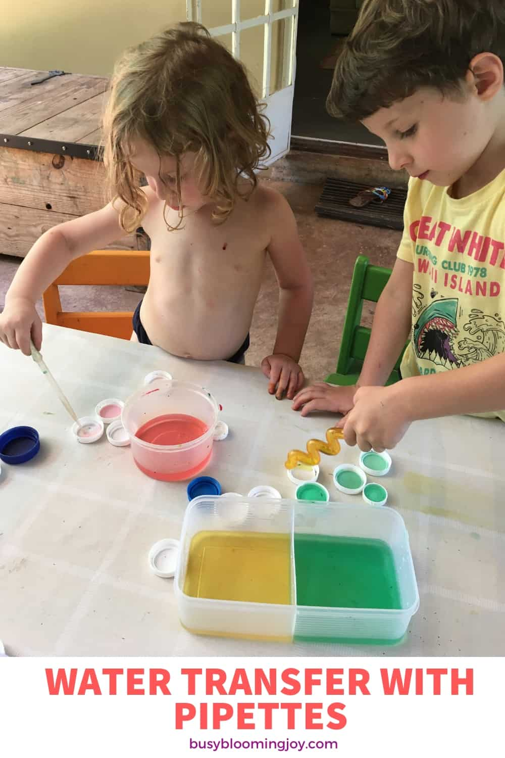 water transfer activity for preschoolers or toddlers