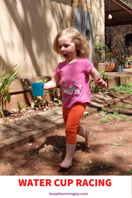 water cup running races activity for preschoolers