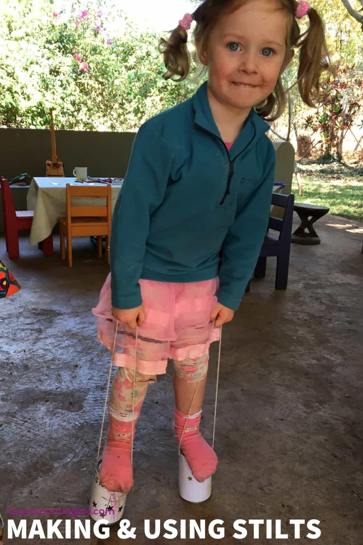 stilt making - fun outdoor activity for preschoolers
